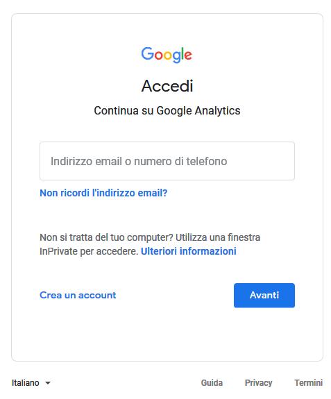 Pagina di accesso account Google